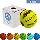Zenify Puppy Toys Dog Toy Food Treat Interactive Puzzle Ball for Tooth Teething Chew Fetch Tennis Training Boredom Behaviour Dispensing Stimulation Pet Dogs & Puppies (Yellow Small)