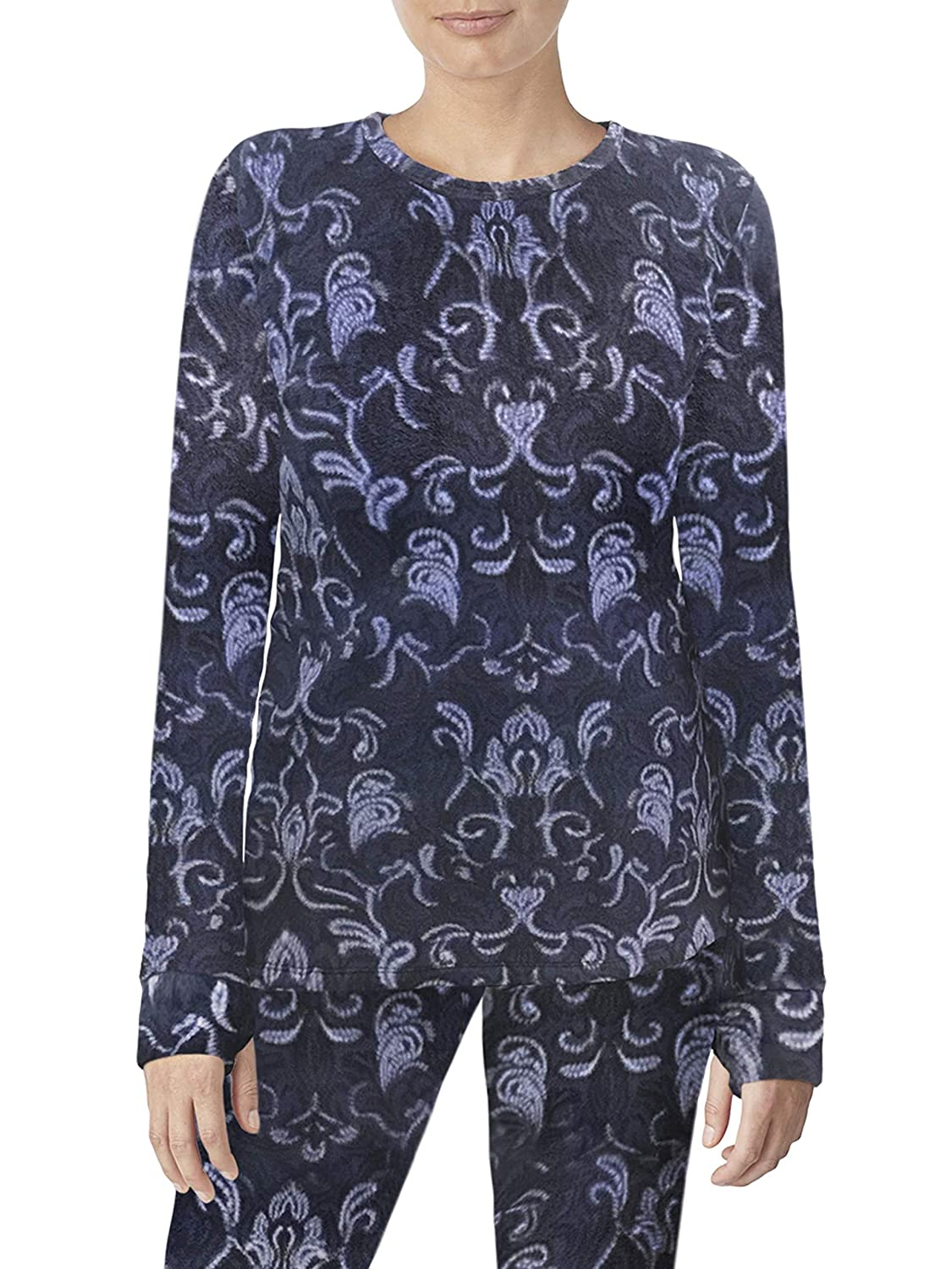 Geo Floral Cuddl Duds ClimateRight Long Sleeve Crew Stretch Fleece