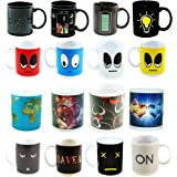 4 Coffee Mugs - Color Changing Heat Sensitive Ceramic Cups - 11oz