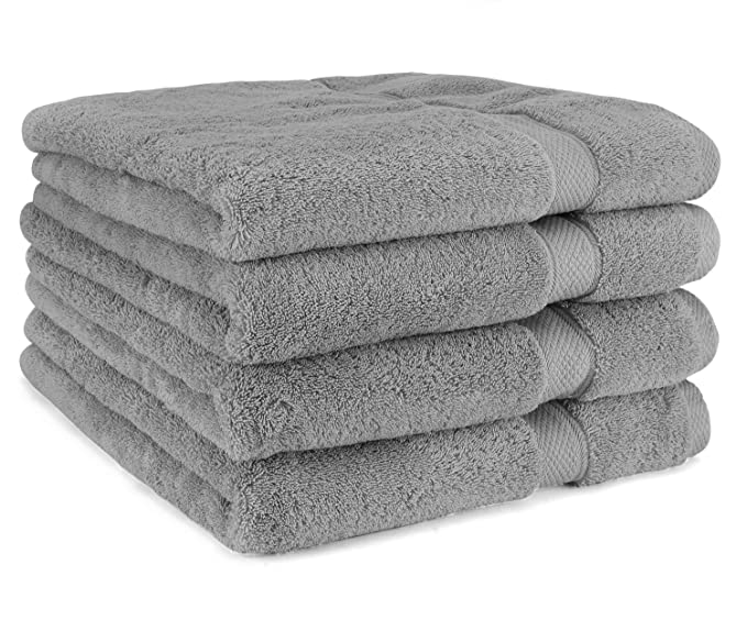 Amazon.com: Luxury Bath Towel By Cozy Homery - 4 Piece Towel Set White - 100% Organic Natural Egyptian Cotton 650 GSM: Home & Kitchen