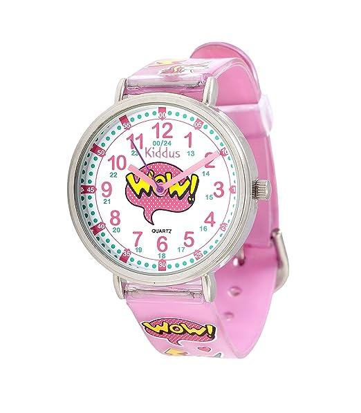 KIDDUS Reloj Educativo para niña, Chica, Chico. De Pulsera, analógico. Time Teacher fácil de Leer para Aprender la Hora. Ejercicios incluídos. ...