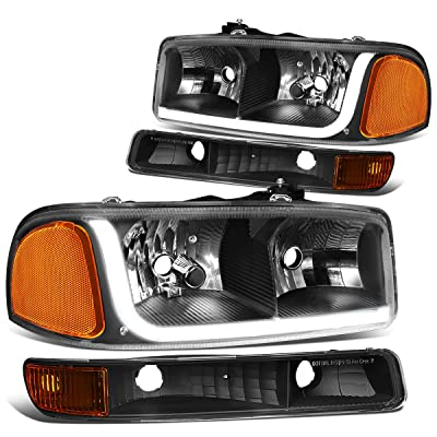 DNA MOTORING HL-LB-SIERRA99-BK-AM 4PCs LED DRL Strip Headlight+Bumper Lamp[99-07 GMC Sierra/Yukon], Black Housing Amber Corner: Automotive