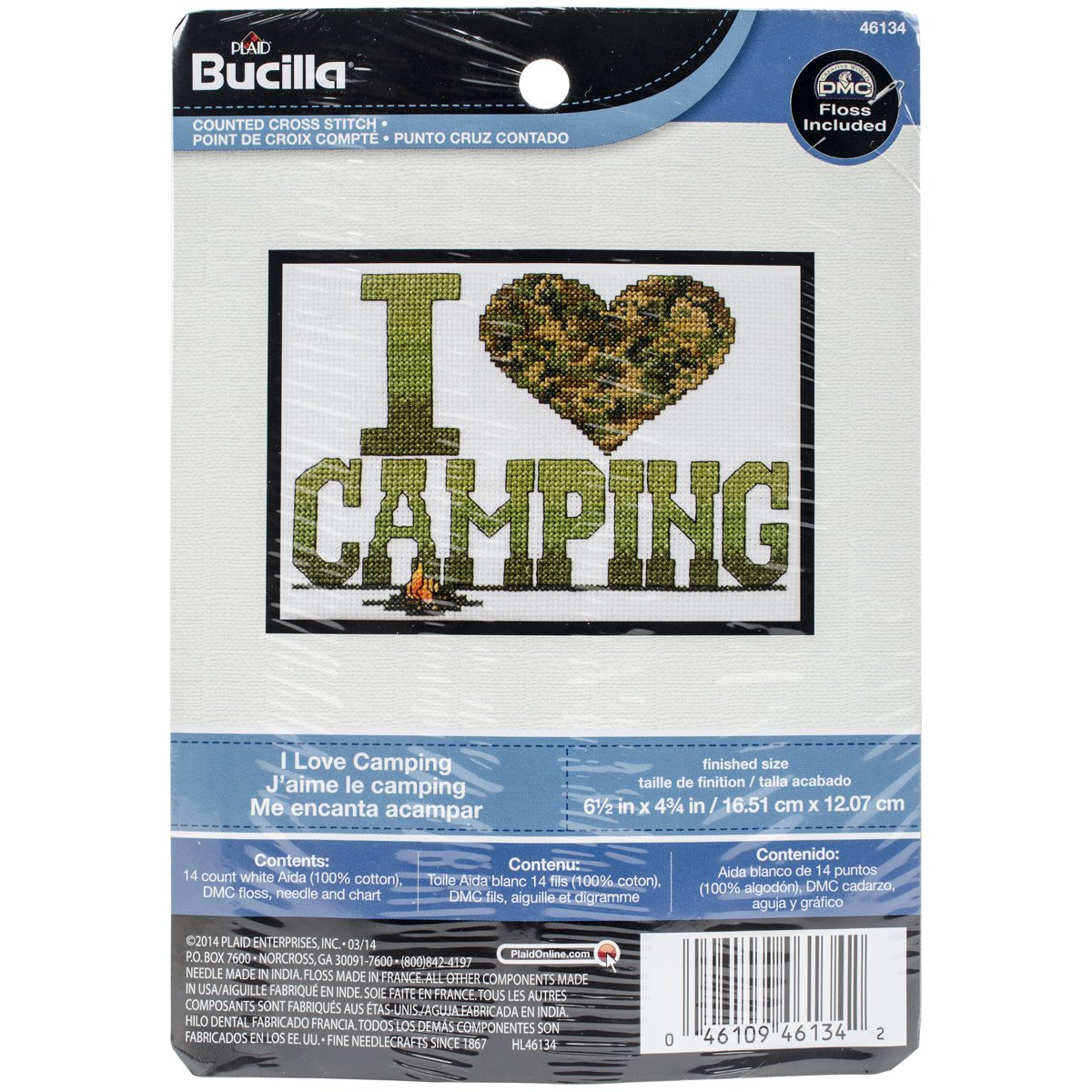 6.5 x 4.75 Bucilla 46134 My 1st Counted Cross Stitch I Love Camping Kit