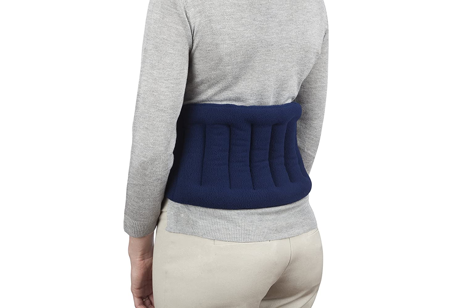"""Sunny Bay Lower Back and Shoulder Joint Heat Wrap with Strap, 10""""x18"""" Heat Pad, Microwave Hot/Cold Pad, Reusable, Portable, Navy Blue"""