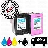 vhbw 2x kompatible Ersatz Tintenpatrone Druckerpatrone Set für Drucker HP Deskjet 2510, 2540, 2542 E-All-In-One