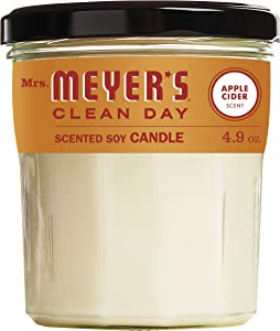 Mrs. Meyer's Clean Day Scented Soy Aromatherapy Candle, 35 Hour Burn Time, Made with Soy Wax, Apple Cider, 4.9 oz