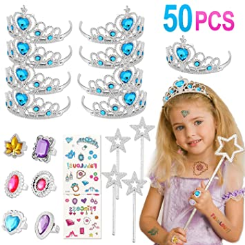 Rosa Pack Regalos de la Princesa Elsa Party Up Vestido Accesorios Corona Varita m/ágica Conjunto para ni/ñas 2pcs