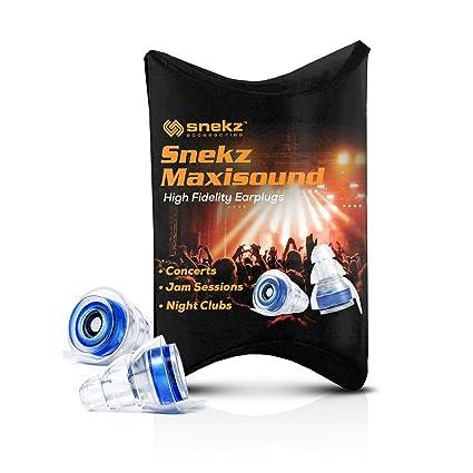 Tapones para los oídos Snekz Maxisound para músicos, DJs, clubes, conciertos y festivales