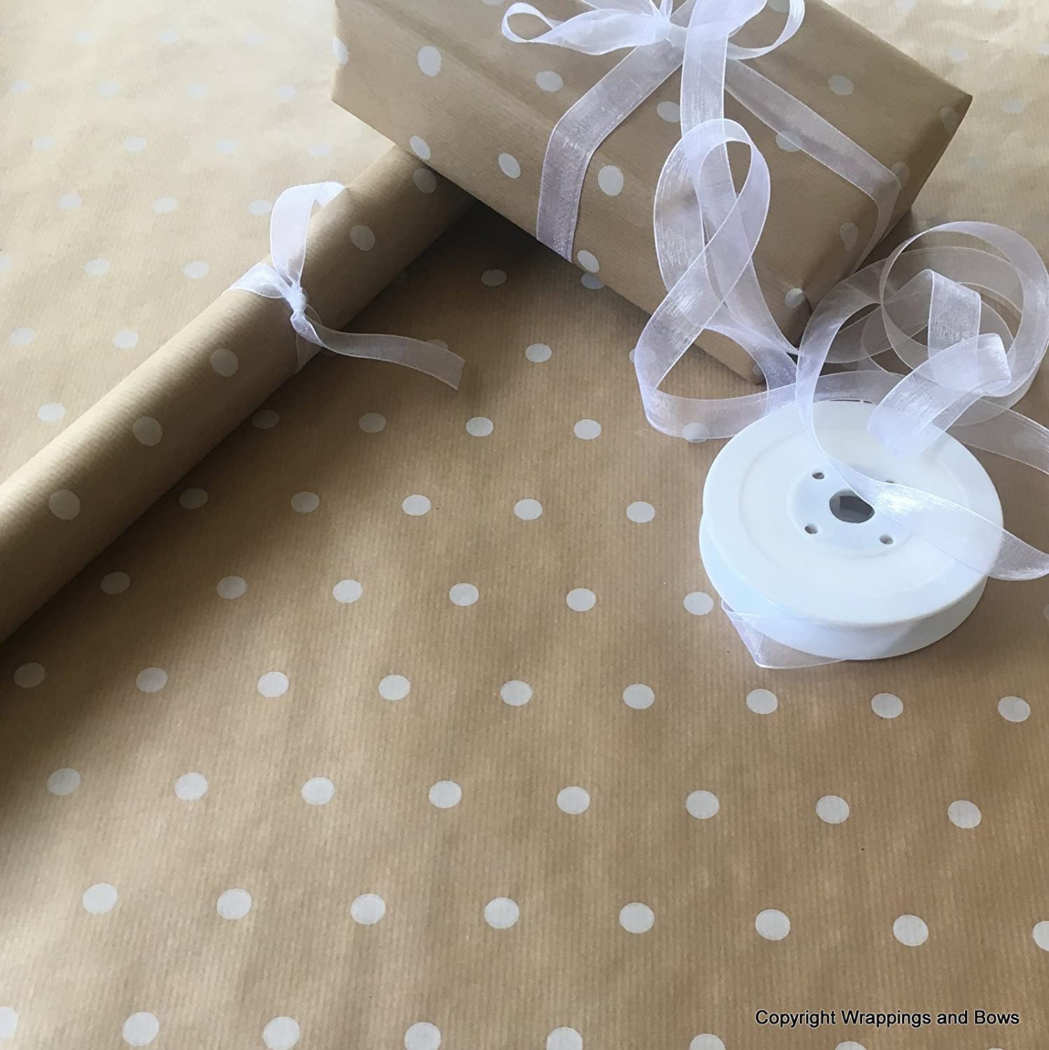Natural Kraft Patterned Brown Gift Wrapping Paper - White Spots (50cm Wide) (10 Metres (Rolled)) Wrappings and Bows