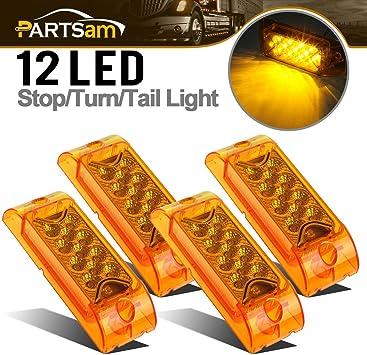 2x6 Big Side Marker Lights Partsam 2pcs 6 Amber LED Rectangle Tail Stop Marker Light Trailer Truck RV 3 Wires 21LED 6x2 Rectangular Led Clearance Lights