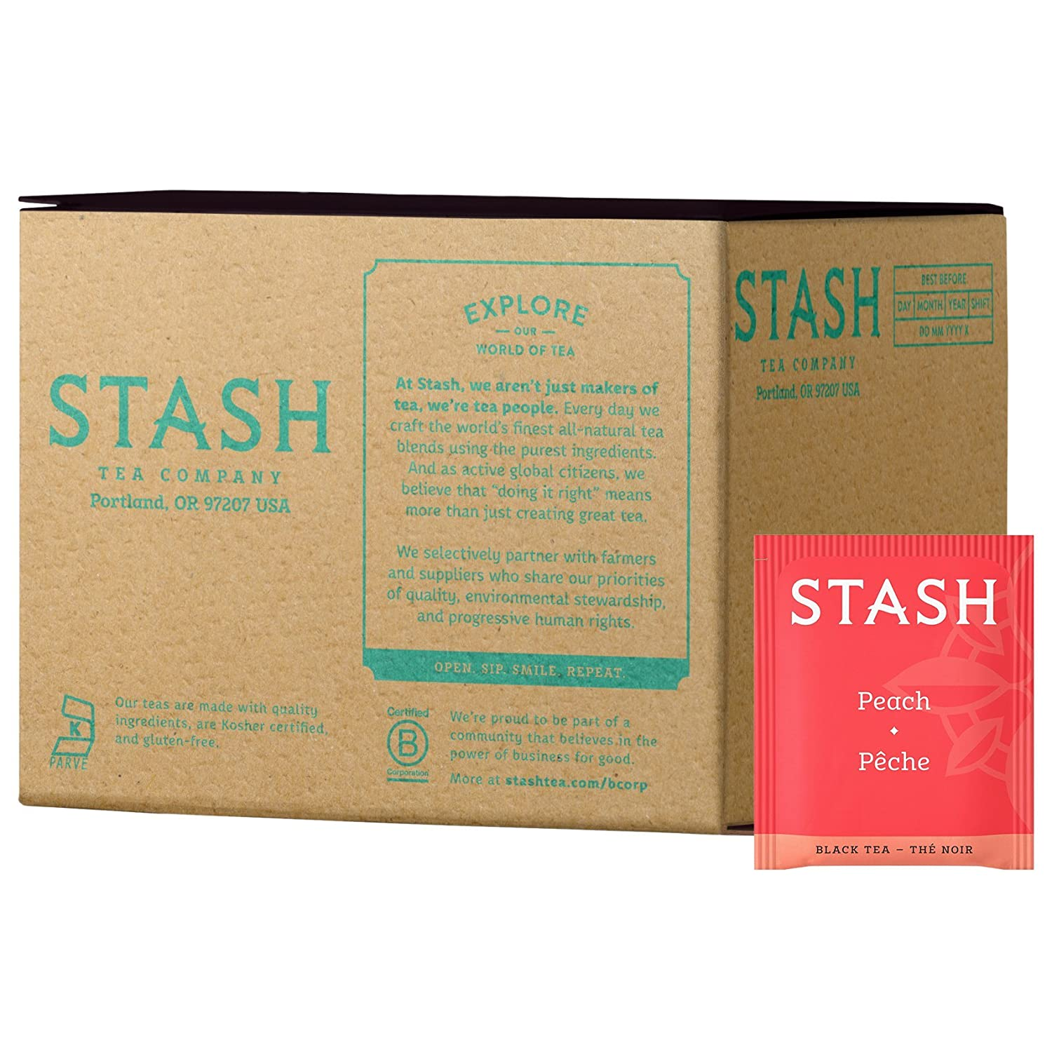 Stash Tea Peach Black Tea 100 Count Box of Tea Bags in Foil (packaging may vary) Individual Black Tea Bags for Use in Teapots Mugs or Cups, Brew Hot Tea or Iced Tea