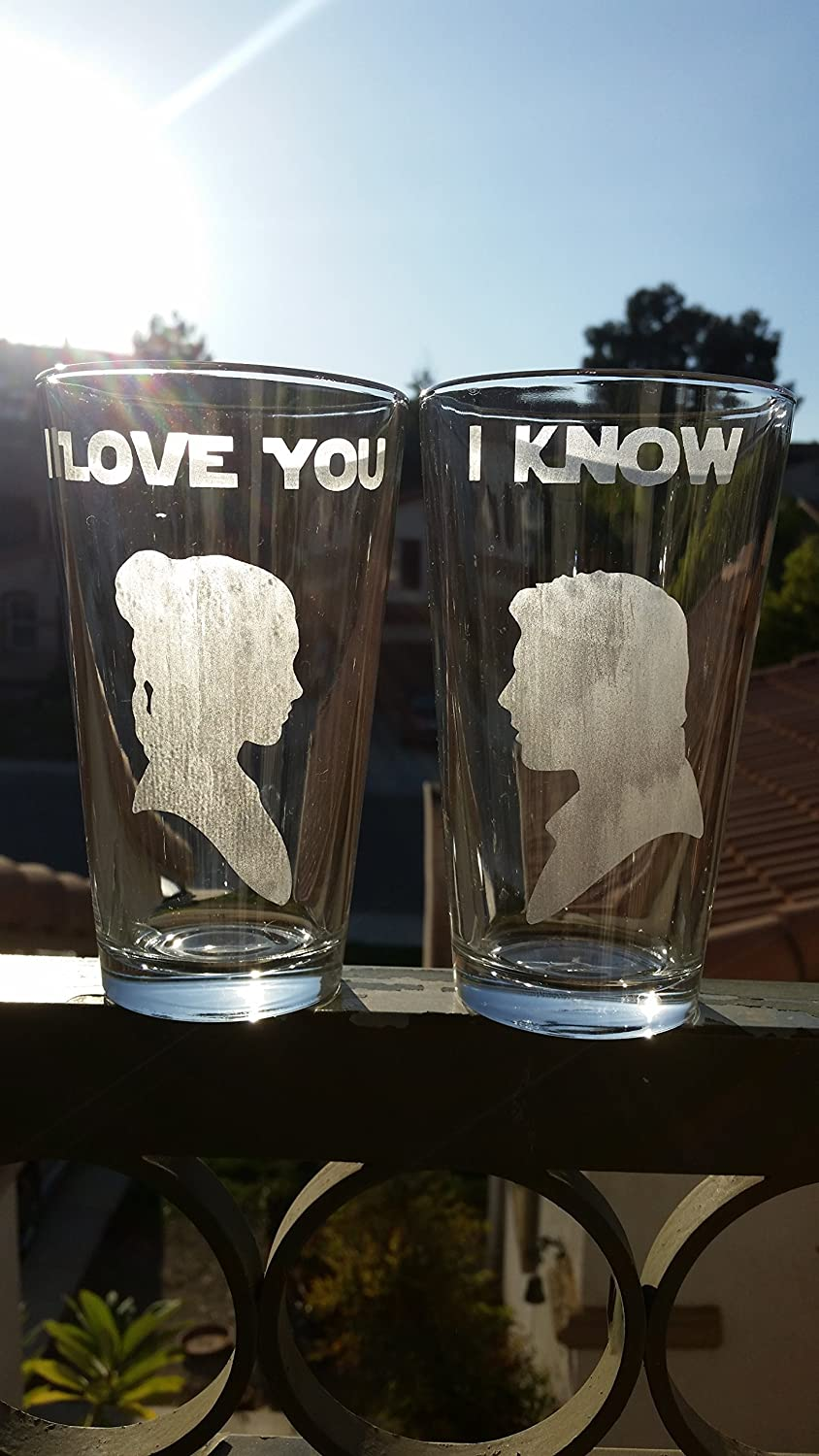 Star Wars Han & Leia Inspired Pint Glass Set Beer Glasses I Love You I Know