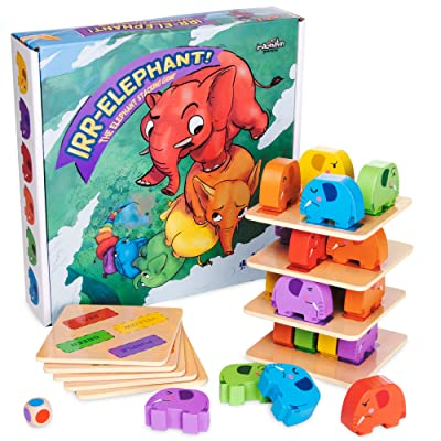 Imagination Generation Irr-Elephant -The Elephant Stacking Tower Game - Children's Tabletop Board Game for Kids and Toddlers - Wooden Block Dexterity for Fun Family Game Night and Early Learning Play: Toys & Games