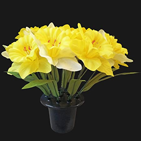 Large 14 Head Long Stem Daffodil Memorial Vase For Grave Mothers
