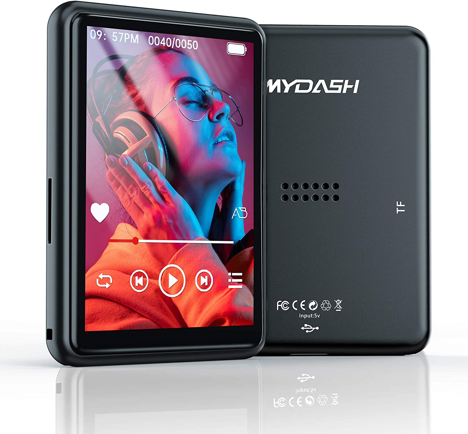 """MP3 Player with Bluetooth,2.4"""" Touch Screen Music Player 16GB Portable MP3 Player with Speakers high Fidelity Lossless Sound MP3 Players FM/Recording/Video Support128(Headphone, Armba)"""