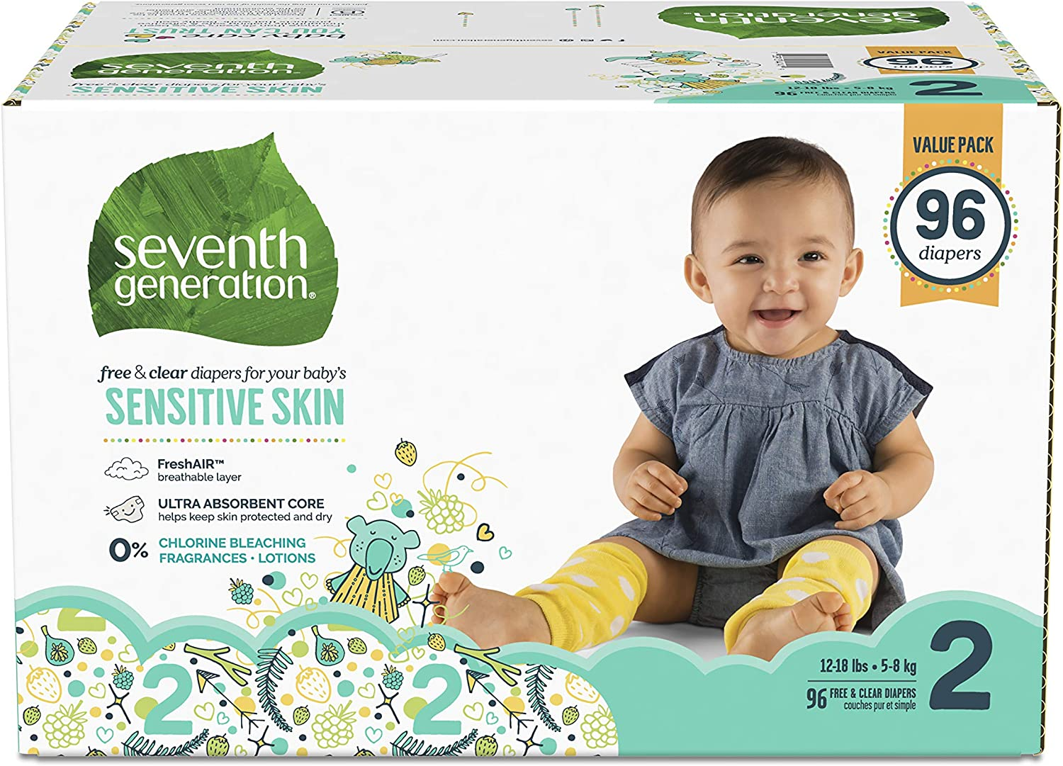 36 count Seventh Generation Baby Diapers for Sensitive Skin Animal Prints Size 0 Newborn