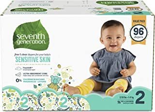 product image for Seventh Generation Baby Diapers for Sensitive Skin, Animal Prints, Size 2, 96 Count