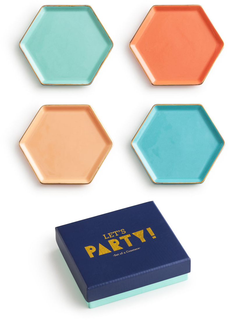 Rosanna Wine Coasters - Let's Party S/4