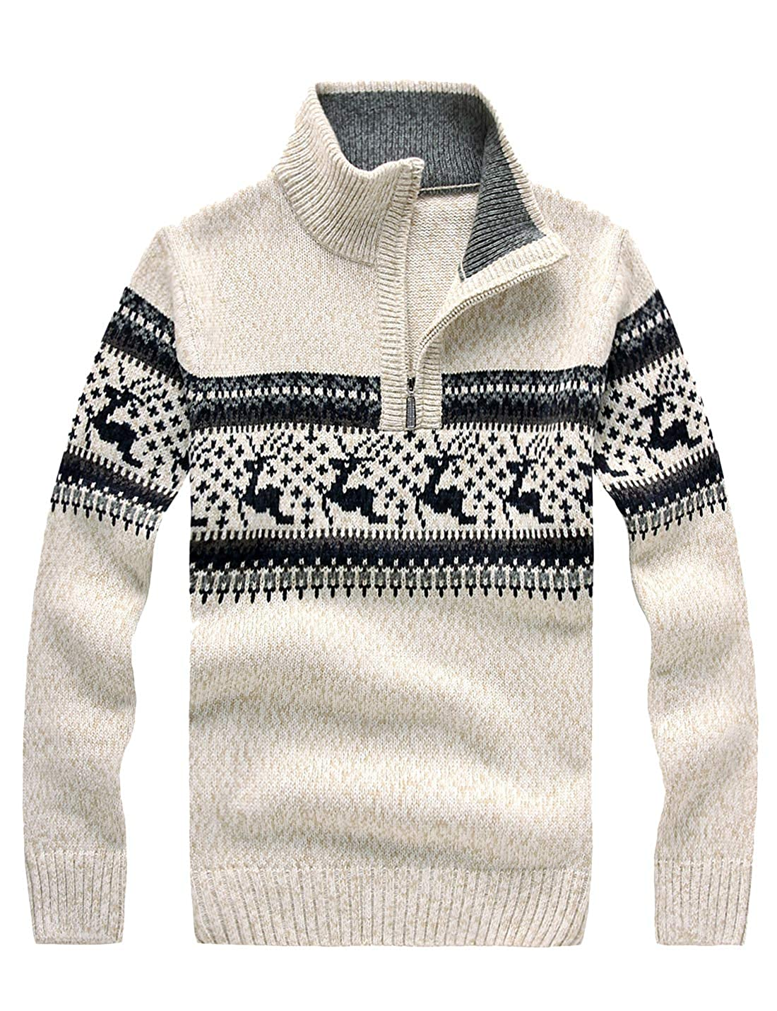 Lentta Mens Casual Half Zipper Stand Collar Printed Knitted Pullover Sweater