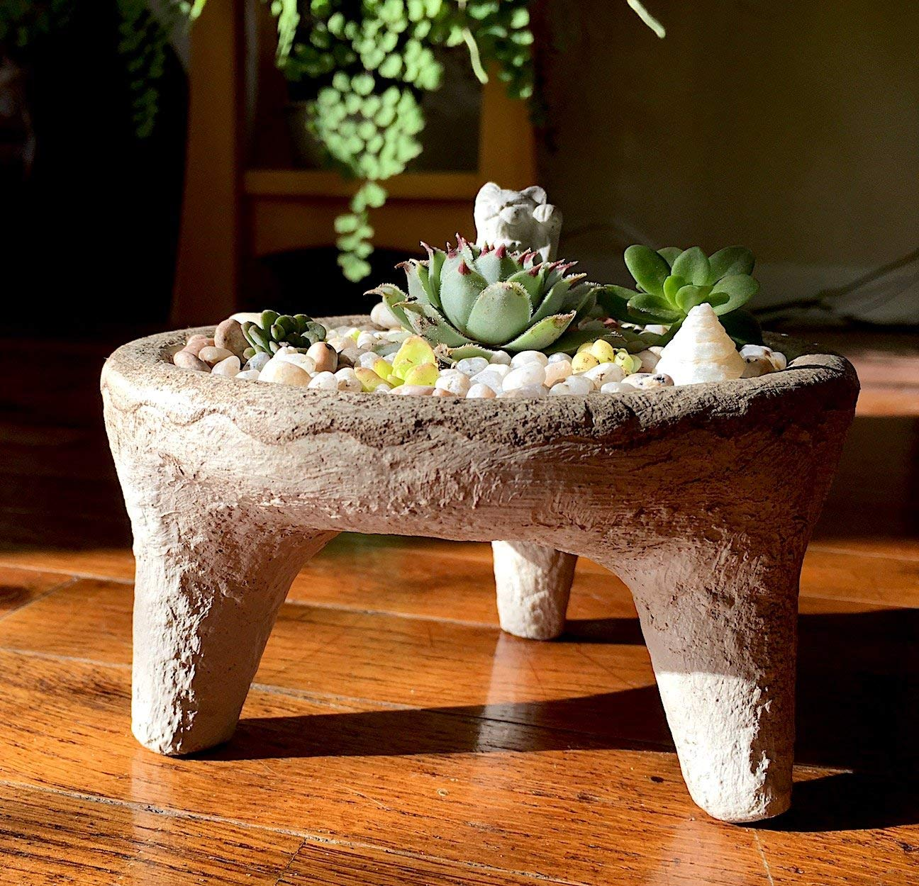 Unique Footed Handmade Stone Bowl Succulent Planter