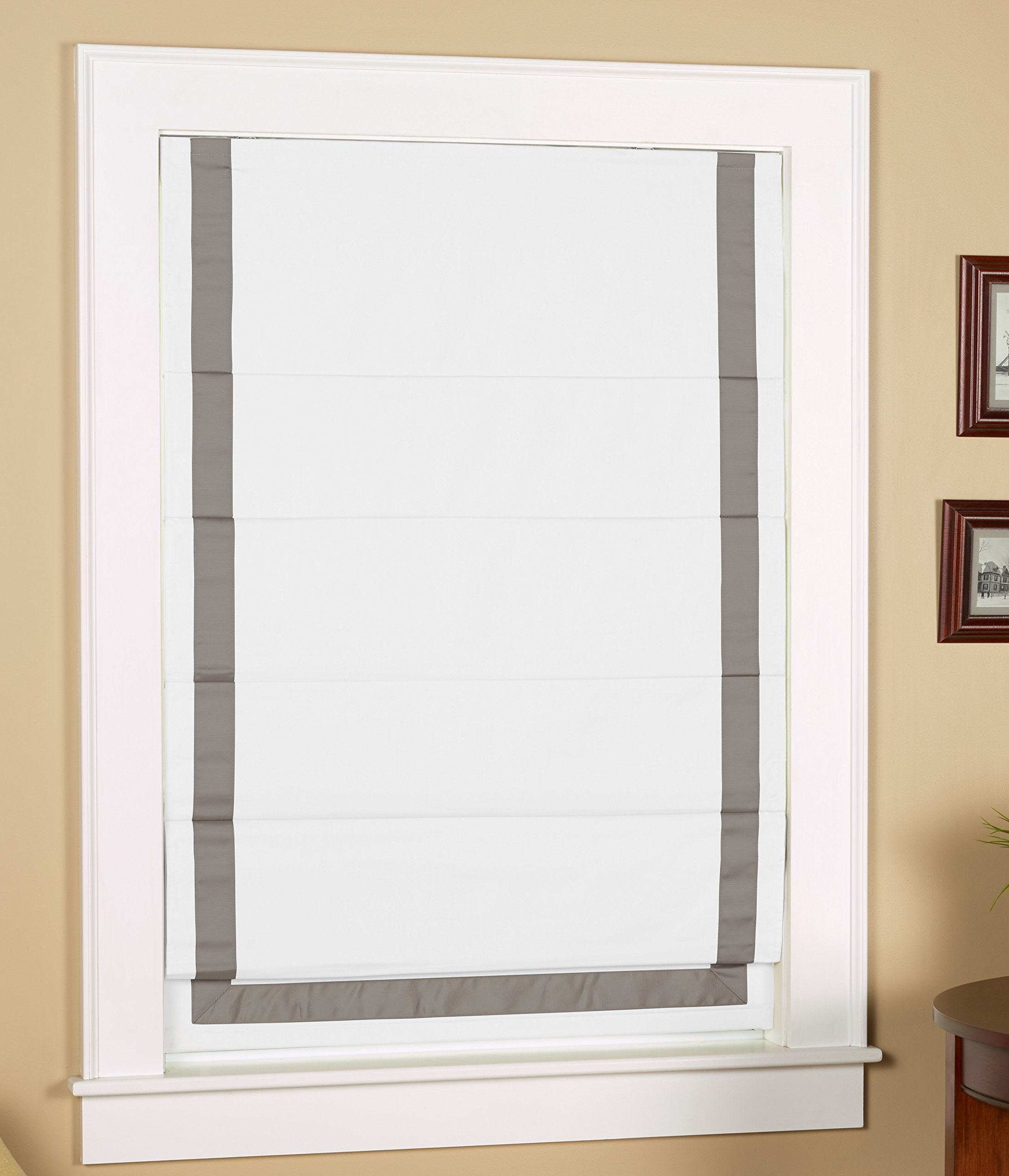 Green Mountain Vista Thermal Blackout Cordless Roman Shade with Ribbon Border - Size 31'' Wide x 63'' Long, White Face Fabric with Grey Border by Green Mountain Vista