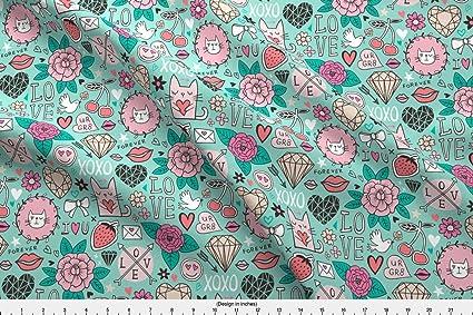 Amazon Com Spoonflower Valentine Fabric Valentine Love Doodle With