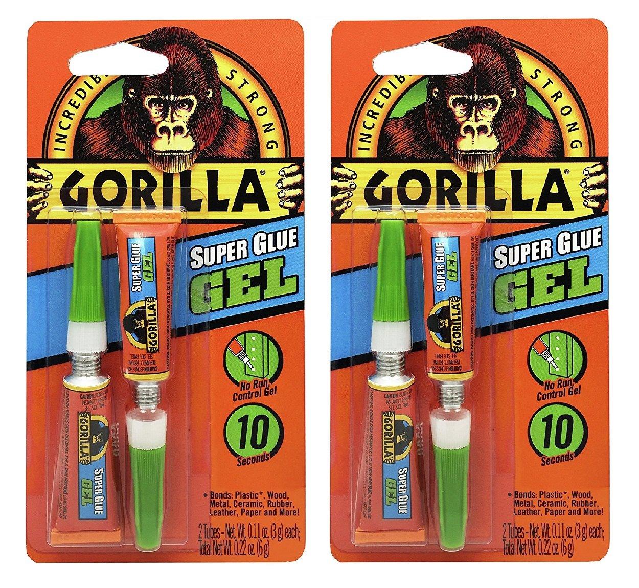 Gorilla Super Glue Gel, 6 g, Clear, (Pack of 2)