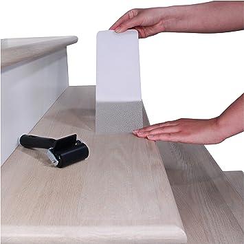 Cinta antideslizante para peldaños de escalera de 10 x 81 cm (15 unidades), transparente antideslizante precortado con rodillo: Amazon.es: Bricolaje y herramientas