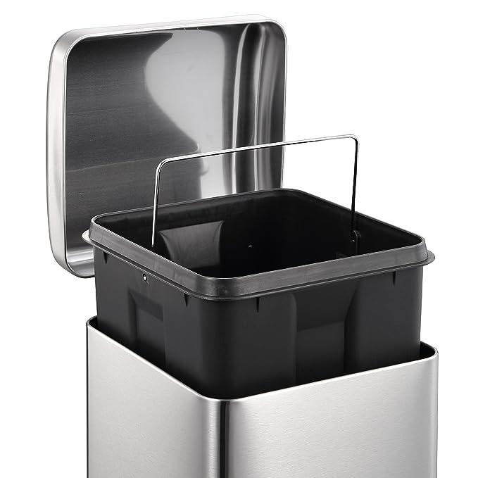 HARIMA Basura 20L | Papelera Reciclaje Individual Para Cocina, Dormitorio, Baño, Jardín | Papelera Ecológica con Pedal y Tapa Domo | Acero Inoxidable | Para ...