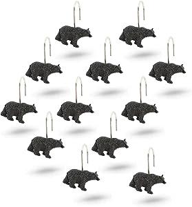 Interior Trends 12 Piece Set of Decorative Shower Curtain Hooks (Black Bear)