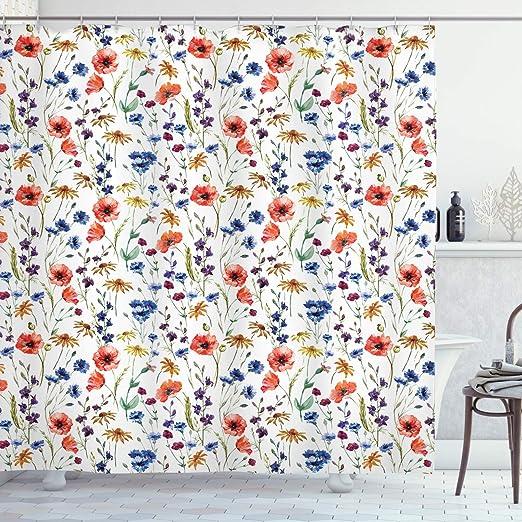 Emery Fabric Shower Curtain Bohemian Blue Orange Green Flowers Decor Print 70x70