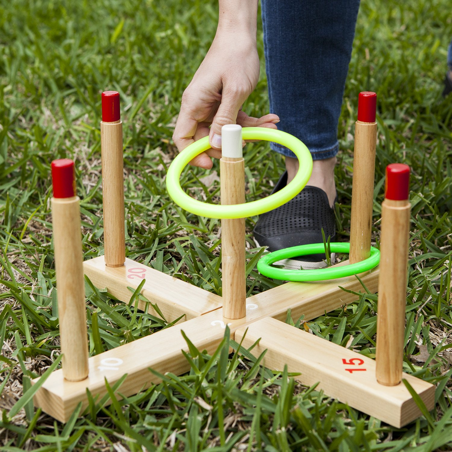 amazon com champion sports classic wooden ring toss game