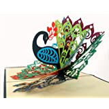 CUTPOPUP Peacock Bird 3D Pop-Up Greeting Card – Charming Design, Handmade Gifts, Ideal for Birthdays, Thank You,Father's Day, Wedding or Anniversaries – With Card Holder