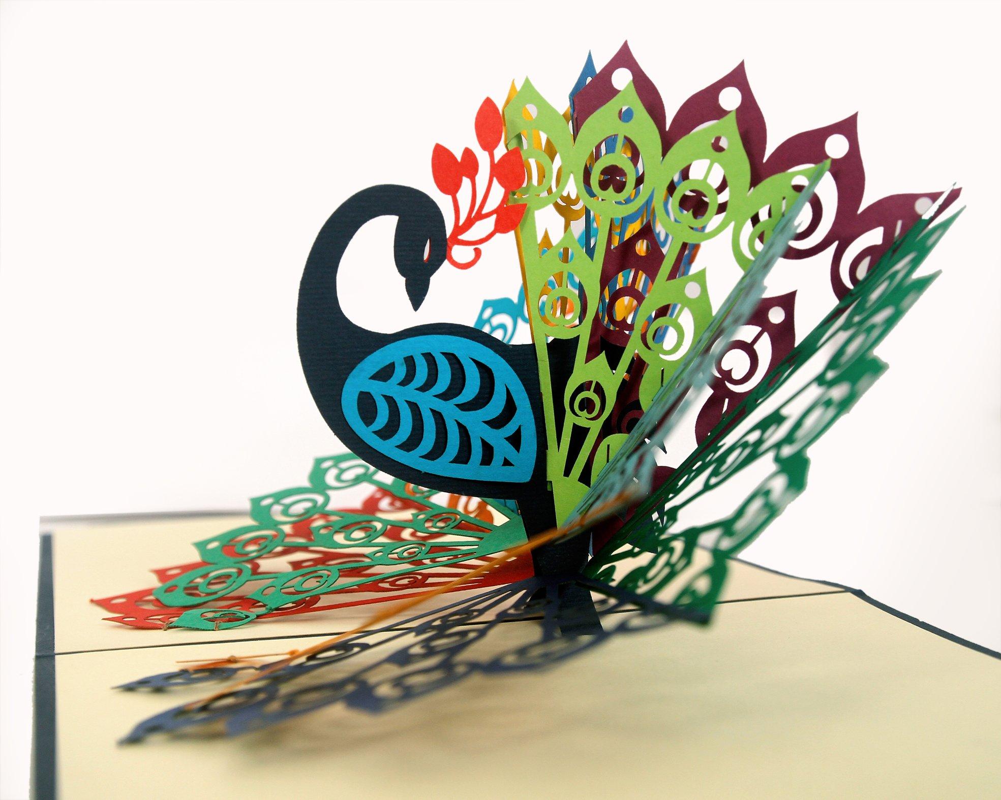bda2195bf5df CUTPOPUP Peacock Bird 3D Pop-Up Greeting Card – Charming Design