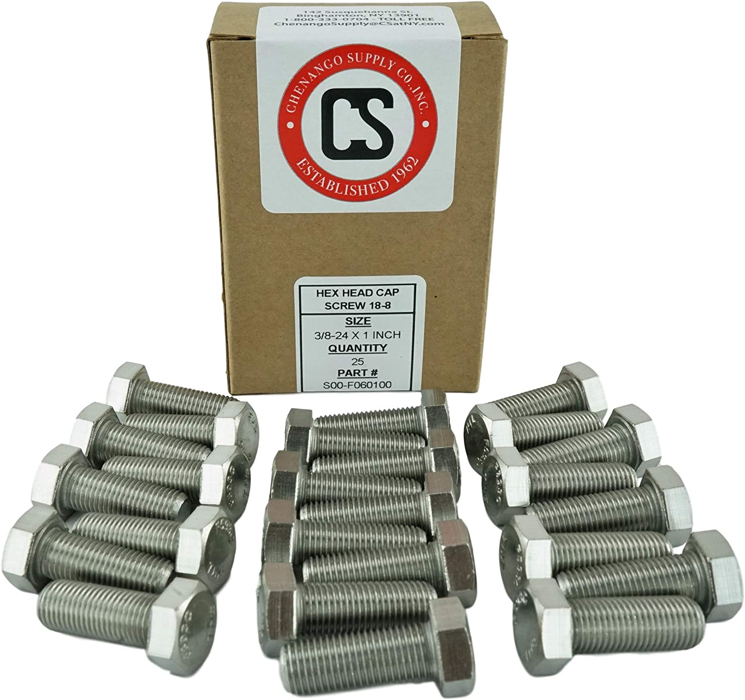 SAE Fine Thread 3//4 to 5 Length in Listing 3//8-24 x 1 304 Stainless Steel Stainless 3//8-24 x 1 Hex Head Bolts 25 Pieces