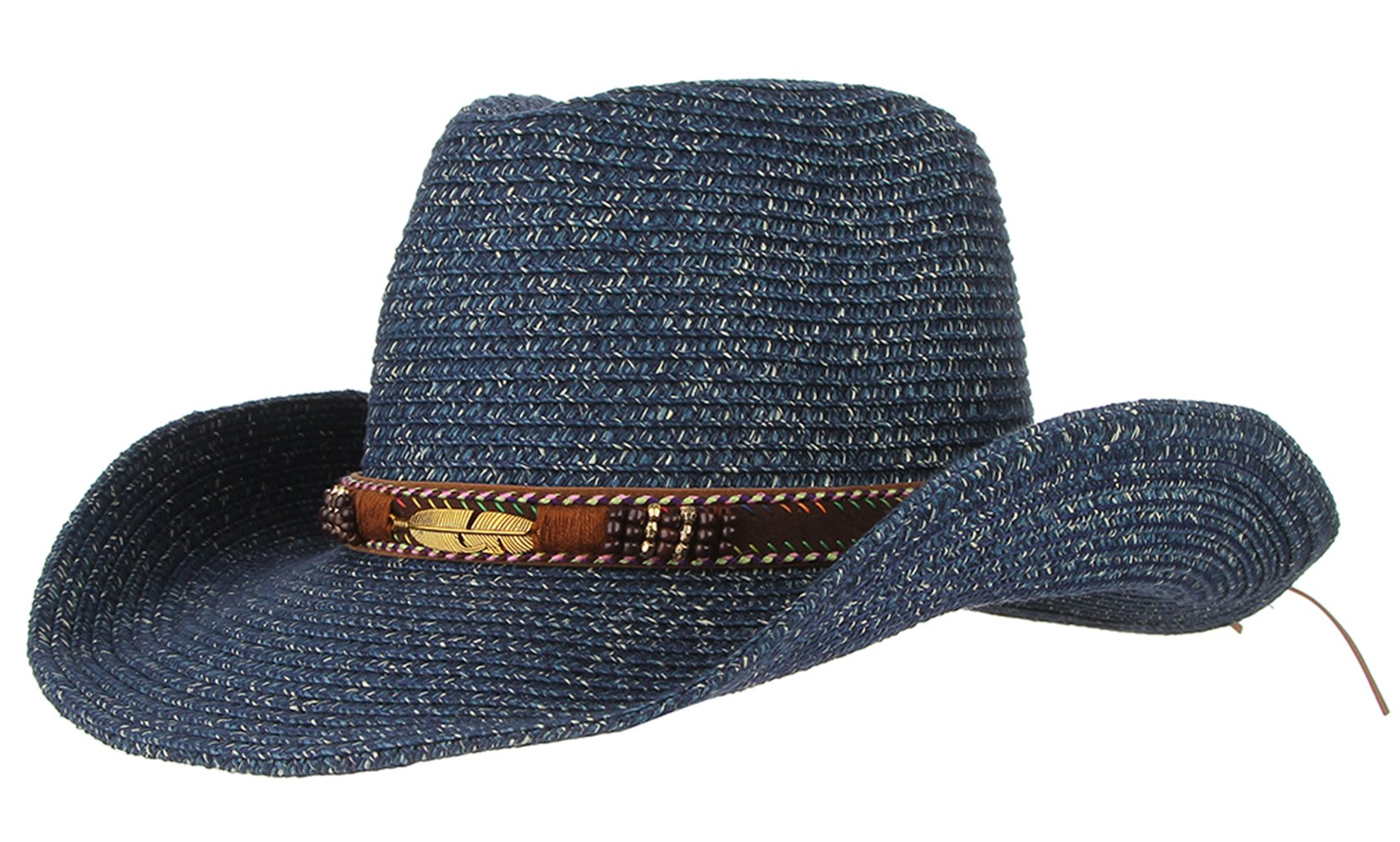 Gemvie Cowboy Hat Floppy Sun Hat Straw Summer Beach Cap Wide Brim Straw Hats Blue