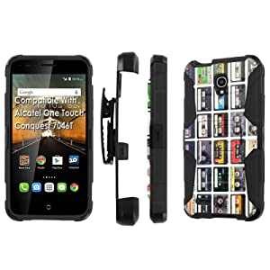 Alcatel [Conquest] Armor Case [SlickCandy] [Black/Black] Heavy Duty Defender [Holster] - [Cassette Pattern] for Alcatel One Touch Conquest 7046T