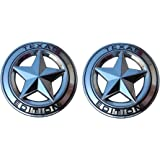 """Muzzys (Set of TWO) Texas Edition Star CHROME and Black Round 3"""" Shield Emblem Universal Stick On for Toyota Tundra, Tacoma, Ford F150, Chevy Silverado, Nissan Titan, Hood, Tailgate, Grille, Fender"""