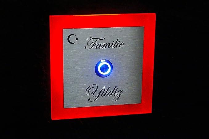 LED Acero inoxidable timbre con grabado y LED Yildiz de l ...