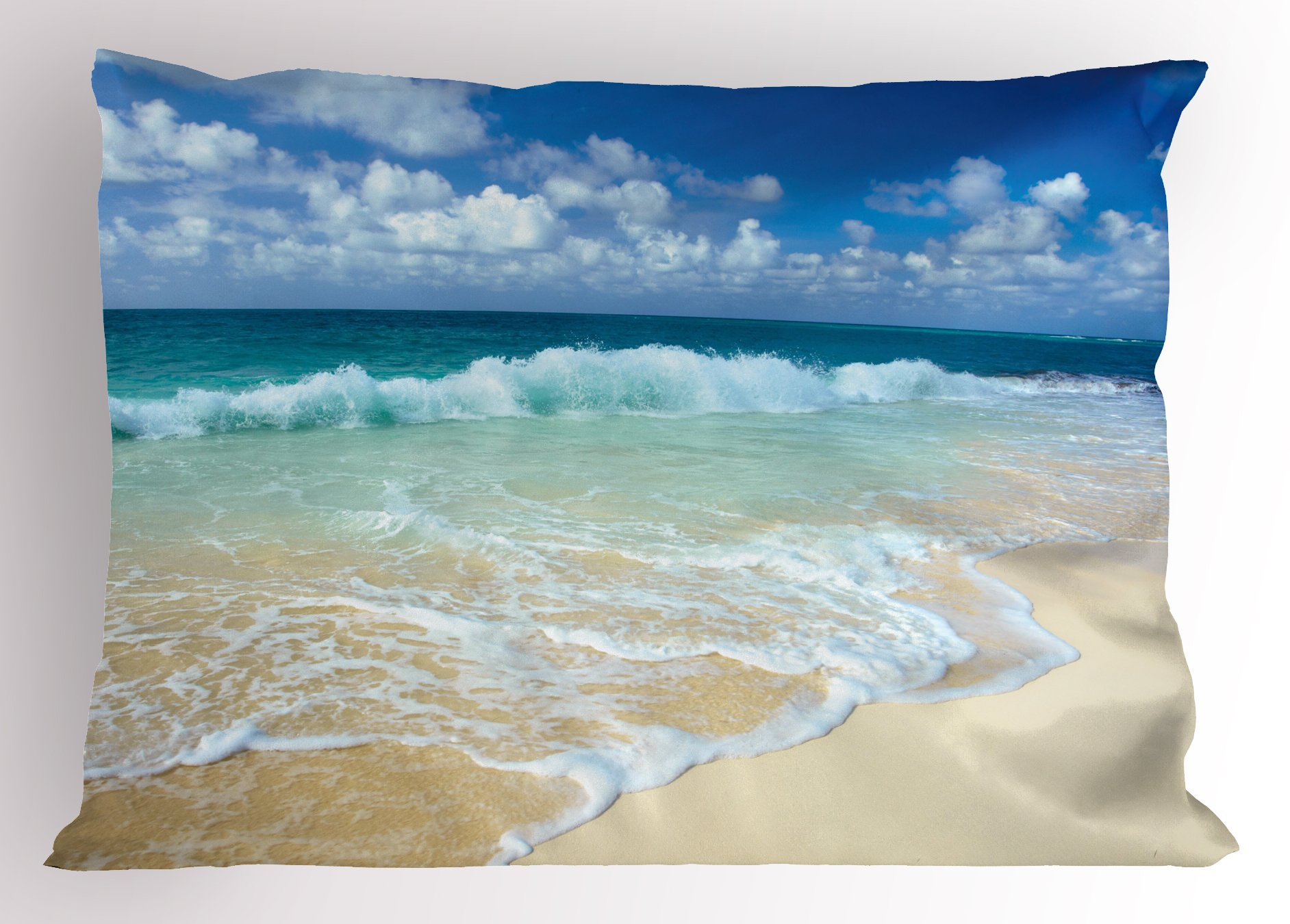 Lunarable Wave Pillow Sham, Beach with Foamy Waves on Empty Sea Shore Holiday Theme Serene Coastal, Decorative Standard Queen Size Printed Pillowcase, 30 X 20 Inches, Blue White Sand Brown