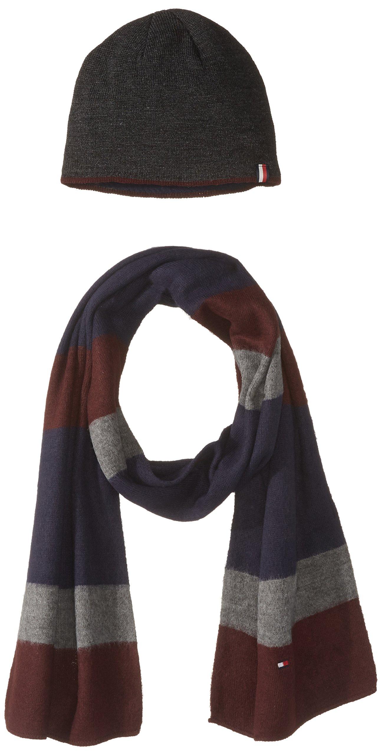Tommy Hilfiger Men's Hat and Scarf Set, Burgundy, OS