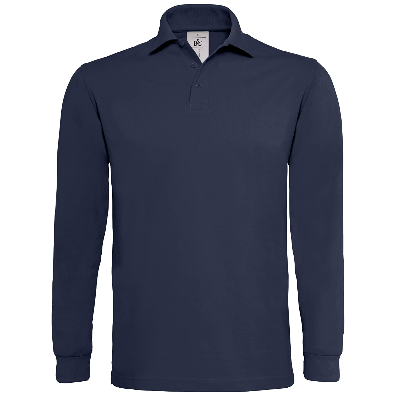c5420510 B&C Mens Heavymill Cotton Long Sleeve Polo Shirt at Amazon Men's ...