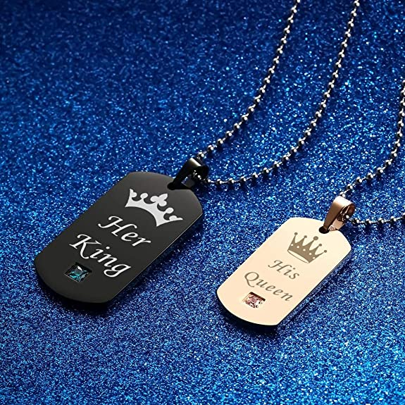 b2a65c1baa Gagafeel Couple Necklaces Her King & His Queen with Crown Stainless Steel Tag  Pendant Necklace: Amazon.ae: Moneysaving