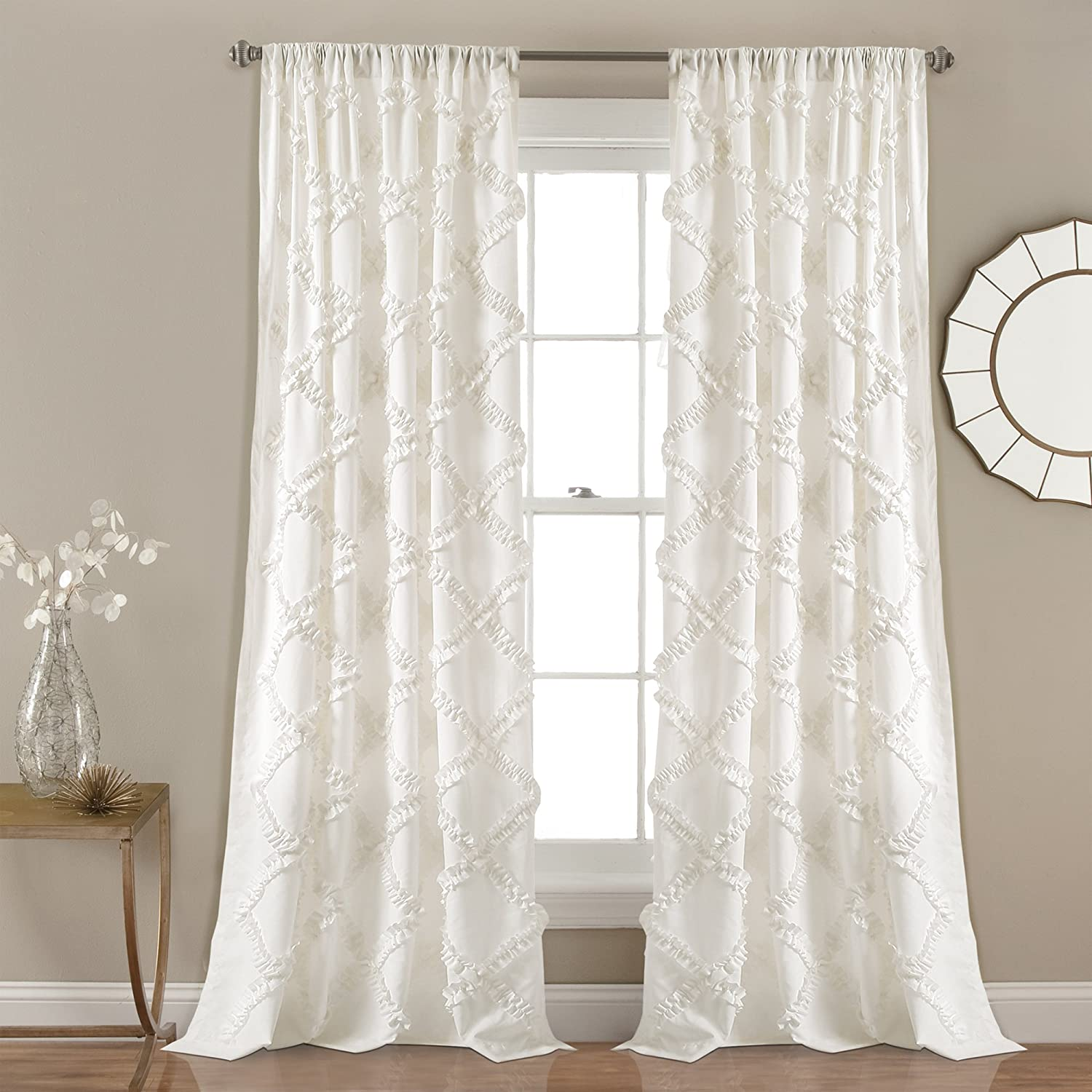 "Lush Decor Ruffle Diamond Curtains Textured Window Panel Set for Living, Dining Room, Bedroom (Pair), 84"" x 54"", White, 84"" x 54"","