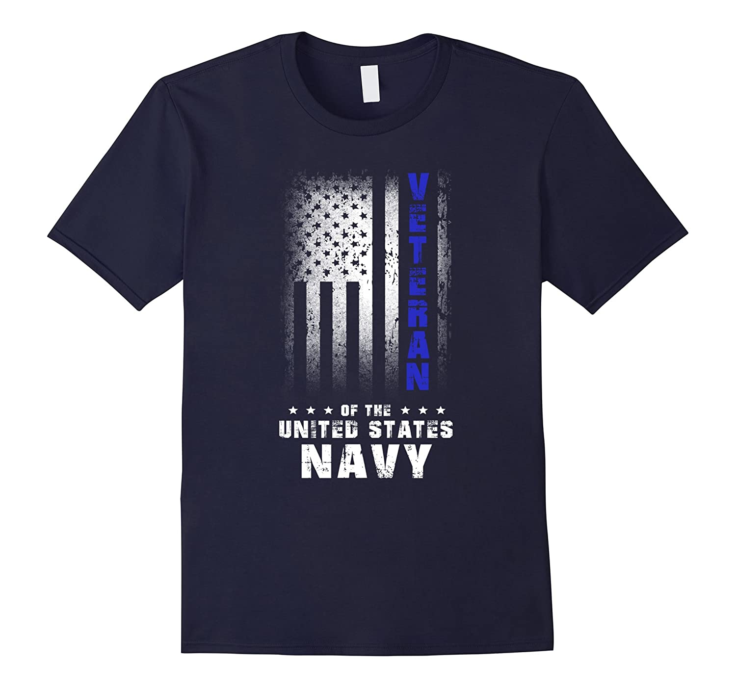 US American Flag T-shirt US Navy Veteran Blue Line-Vaci