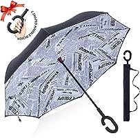 ZOMAKE Double Layer Inverted Umbrellas for Women, Reverse Folding Umbrella Windproof UV Protection Big Straight Umbrella...