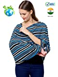 Feather Hug Women's 360 Degree Nursing Cover/Cloak/Poncho/Scarf/Wrap/ Canopy/Shawl/Apron/Poplin for Breastfeeding (Blue Black Stripes, Free size)