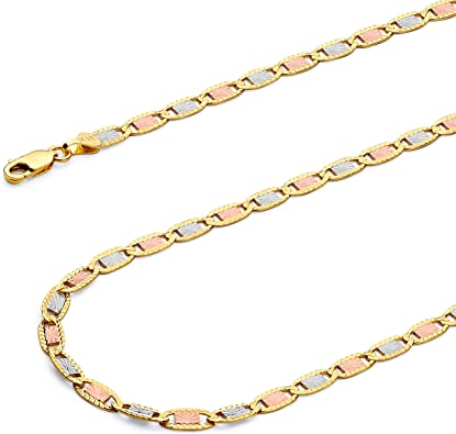 Wellingsale 14k Tri 3 Color Gold Solid 3.5mm Stamp Figaro 3+1 Diamond Cut Chain Necklace