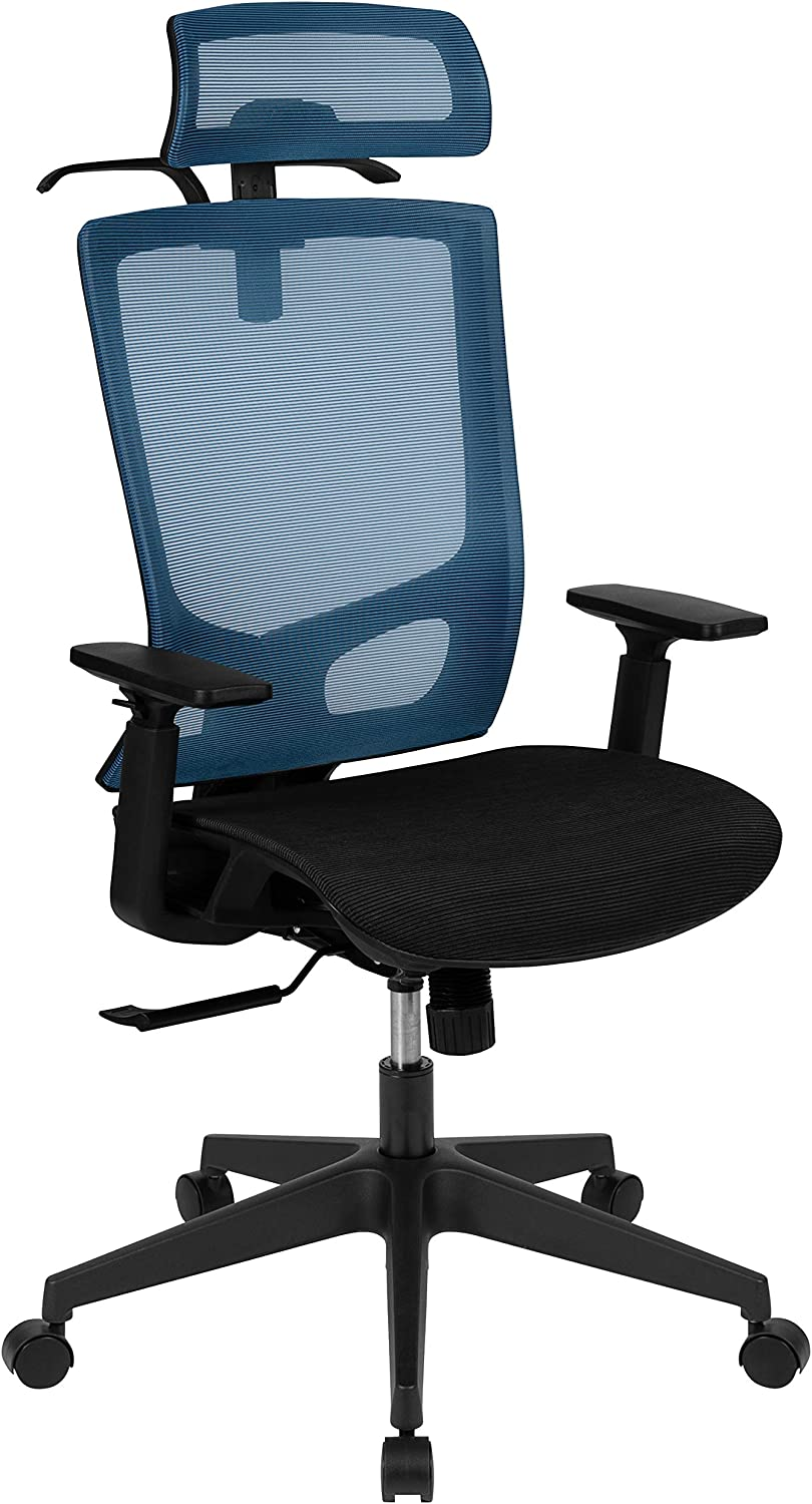 Flash Furniture Ergonomic Mesh Office Chair with Synchro-Tilt, Pivot Adjustable Headrest, Lumbar Support, Coat Hanger and Adjustable Arms in Blue/Black