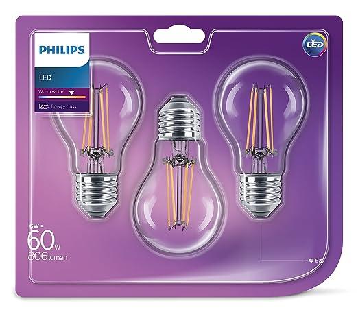 Philips - Bombilla LED (E27, rosca Edison, filamento transparente, 6 W (